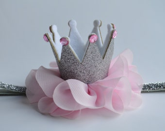 Silver and Pink Baby Crown Headband - Birthday Crown Headband - Glitter Crown Headband - Princess Crown Headband - Photo Prop Crown