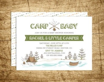 Printable Camp Invitation Baby shower, tent, campfire, canoe, river, trees, mountains, woodland, forest, DIY, hand drawn, customizable