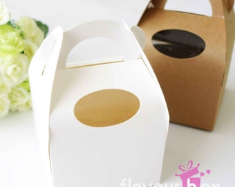 "10x White Gable Favour Box 4"" (10 cm) • Cupcake Boxes • Carrier Gift Box • Cookies • Macaron • Baby Shower • Wedding Bomboniere"