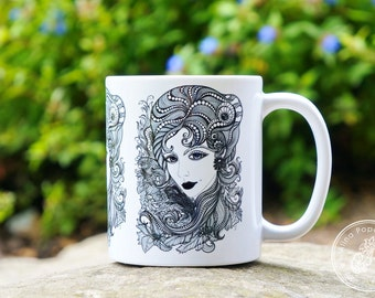 Art Mug, Ceramic Coffee Mug, Microwave and Dishwasher Safe, Coffee Cup
