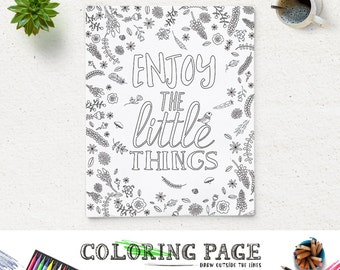 coloring page enjoy the little things printable quote instant download art print zen printable adult coloring - Quote Coloring Pages