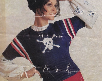 PDF lady's cute pirate sweater skull and crossbones vintage knitting pattern pdf INSTANT download pattern only pdf