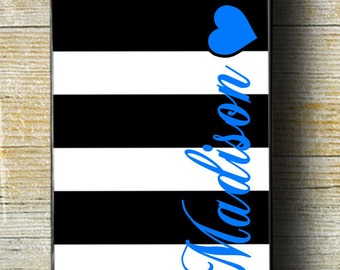 Black and white stripes with your name iPhone Case,