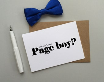 Page boy wedding card - Will you be our page boy card - Page boy card - Modern wedding card for page boy