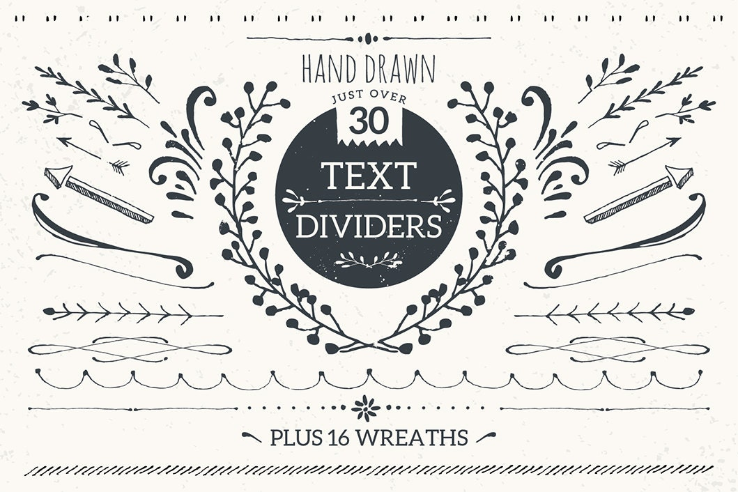 Text Dividers And Wreaths Bundle Pack Hand Drawn