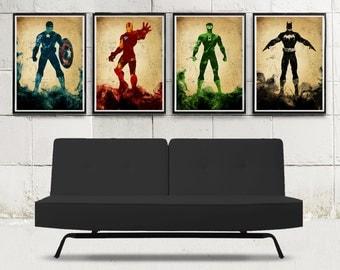 Incredible Superheroes Minimalist Movie Poster Set