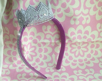 Silver Birthday Crown, Girl crown headband, Baby girl tiara, silver birthday party crown on a headband