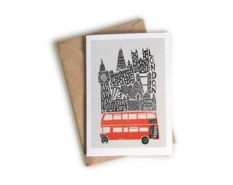 A6 London Card, City Art, Big Ben, Houses of Parliament, Blank Greeting Card, Retro Style Cityscape, Black and Red, Bus Art, Londoner Gift