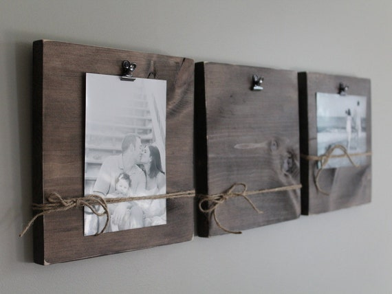 Rustic wall clip frame 4x6 or 5x7 photo display photo for Photo clip wall frame
