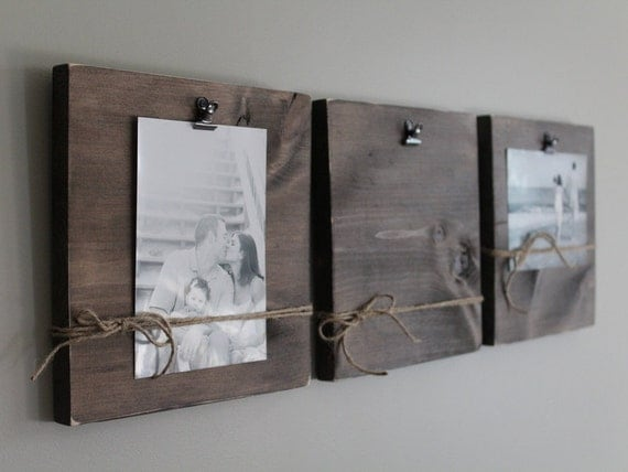 Rustic Wall Clip Frame 4x6 Or 5x7 Photo Display Photo