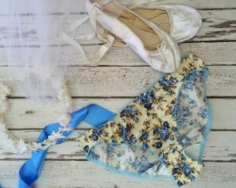 SALE! Salvia' Bikini Knickers Blue Floral Bridal Panties Briefs Modern Vintage