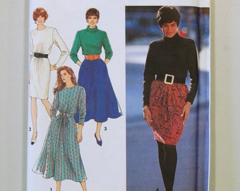 Vintage 1990s Simplicity 7442 Sewing Pattern / Misses' Dress Pattern / Sizes 10-18