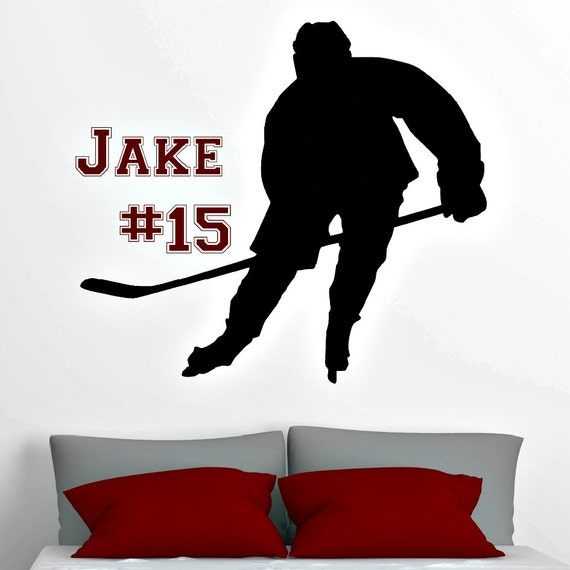 Hockey Wall Decal Large Decal Custom Name Decal Boys: Personalized Hockey Player Vinyl Wall Decal With Name And