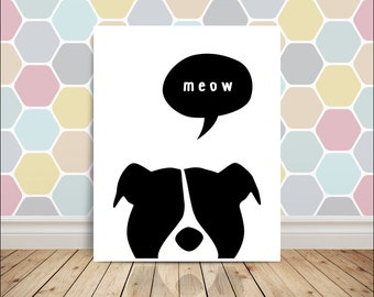 Meow Print  Minimalist Poster / Illustration in Black and White