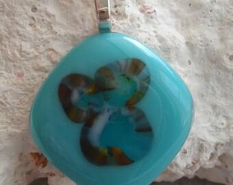 Aqua Fused Glass Cabochon Pendant