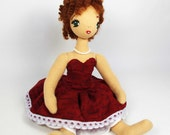 Cloth doll - Art textile doll - OOAK handmade doll - 10 inch (25cm) - Cotton doll - Fabric doll - cute girl Anabel