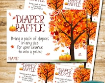 Instant Download - Little Pumpkin Diaper Raffle Tickets Baby Shower Game - Autumn Fall Baby Shower Fall Leaves Fall Tree - 9415 PRINTABLE
