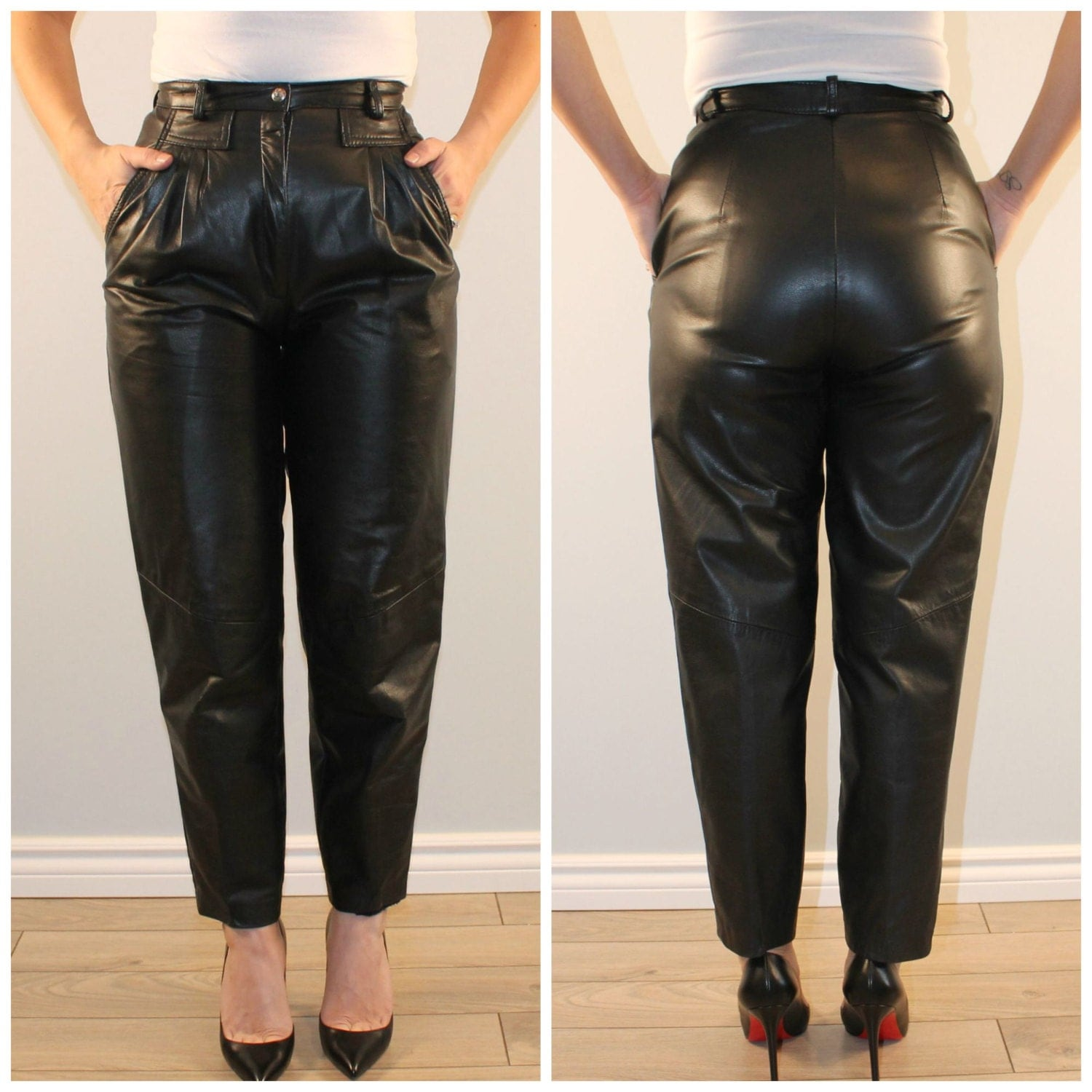 Black leather pants womens - results from brands Balmain, DSQUARED2, Blackhawk, products like Lamarque Kelly-L Stretch Leather Leggings (Black) Women's Casual Pants, ALFANI Faux-Leather-Trim Slim-Leg Pants, Created for Macy's - Black 14, Vince Stretch Suede Crop Pant, Women's Pants.