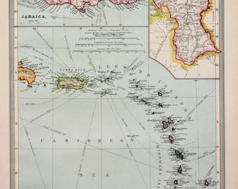 Antique Map : West Indies - Lesser Antilles, Jamaica, Harmsworth c. 1907. Lovely Pastel Colours