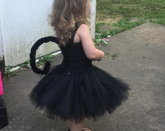 Black Cat Tail and Ears - Toddler Sized -  Black Cat Costume Accessories - Cat Tail - Cat Ears - Does NOT include the tutu - please see shop