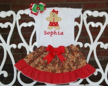 Baby Girl Christmas Outfit! Christmas outfit for baby girls/ Baby Girl First Christmas Outfit/Gingerbread Christmas Outfit/1st Christmas