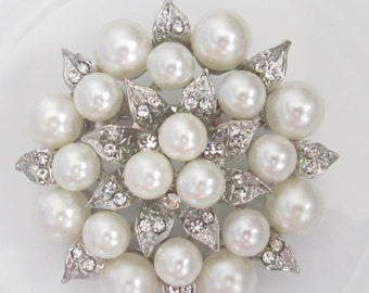 Pearl and Rhinestone Brooch / Bridal Brooch / Pearl and Crystal Brooch Component / SQB-9