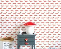 PEEL and STICK vinyl wallpaper - Red sweater dog pattern  - OLB_003