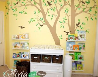 Set of 2 Large Tree vinyl wall decals, Wall tree decor, leaves and birds  stickers - NT021