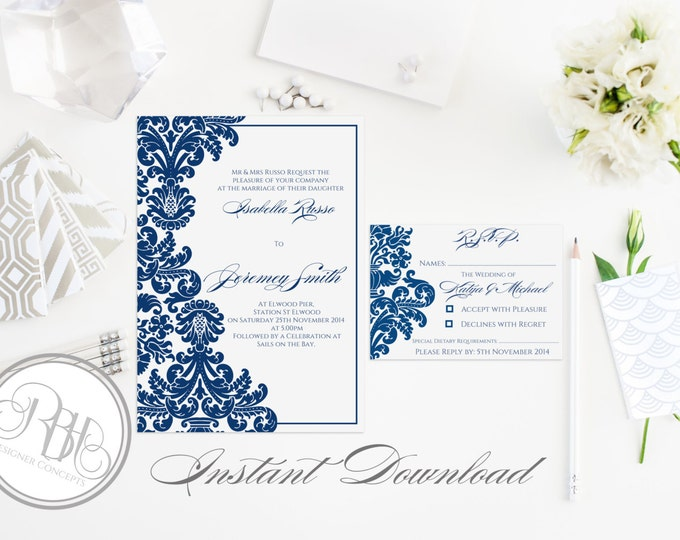 """Indian Henna Instant Download-Template (5x7 Invitation) & (5 x 3.5 Reply/Rsvp)-Indian Henna Damask in Midnight Royal Blue-""""Patricia Package"""""""