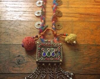 Gypsy Jewel Bell Box Pom Pom Coin Sari Silk Necklace