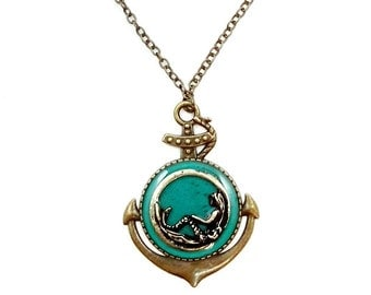 Anchor Pendant with Brass Nautical Mermaid / Teal or Ocean Blue Background / Large Statement Pendant / Mothers Day or Valentines Day Jewelry