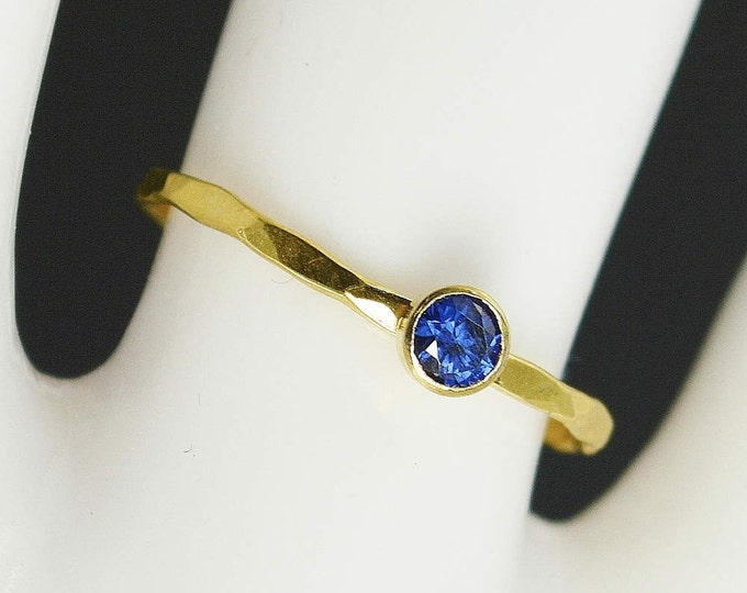 Dainty Solid 14k Gold Sapphire Ring, 3mm Gold Solitaire, Solitaire Ring, Real Gold, September Birthstone, Mothers Ring, Solid Gold Band
