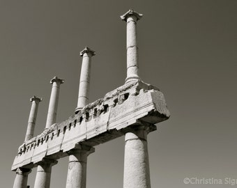 Black and White photo of ruins in Pompeii, Italy! Fine Art Print