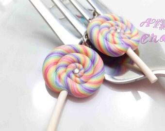 Raibow Lollipop Earrings, Candy Earrings, Swirl Lollipop, Polymer Clay Food, Food Earrings