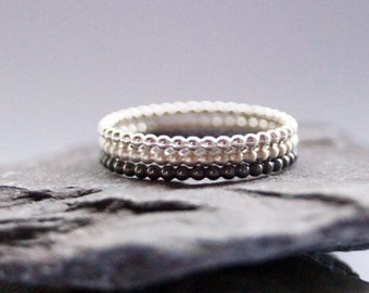 Three Beaded Sterling Silver Rings ~ statement ring, elegant, modern, beaded, round, stacking, stackable