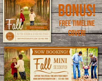 Fall Mini Session Template - Photoshop Template for Photography - Facebook Cover - 101