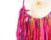 Bohemian Dreamcatcher with yellow jasper and sari silk in pink and orange- small- Tribal Wall Hanging - eco friendly dreamcatchers - NFE