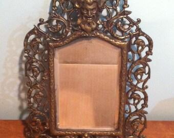 Antique Vintage Brass Framed Figural Decorative Beveled Glass Mirror