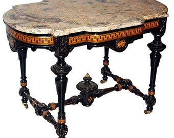 13.6097 Antique Victorian Marble Top Table by Herter Brothers