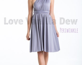 Bridesmaid Dress Infinity Dress Periwinkle Knee Length Wrap Convertible Dress Wedding Dress