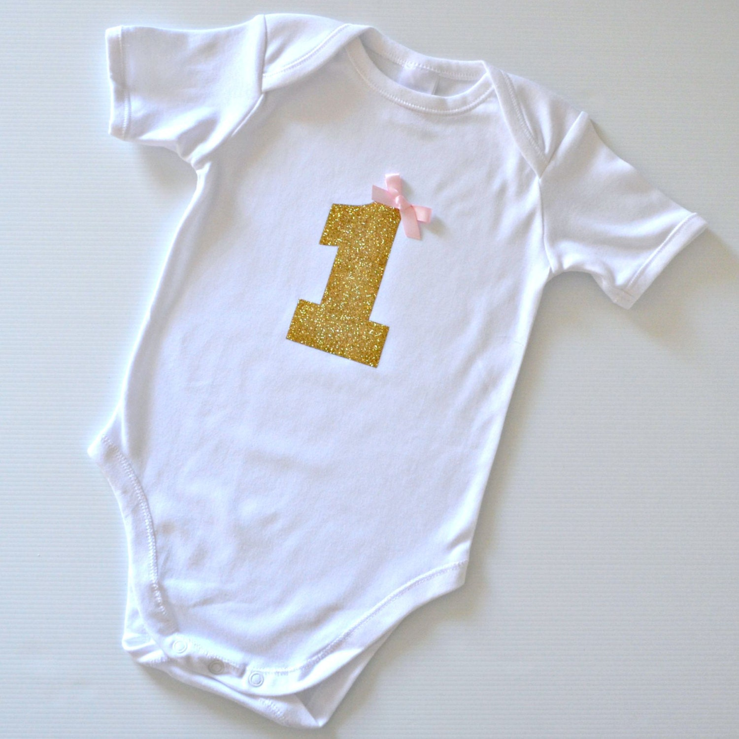 1st Birthday Gold Glitter 1 Onesie / Bodysuit By