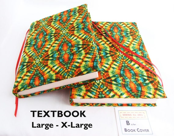 Removable Fabric Book Cover ~ Textbook cover tie dye large to by sewingtheabcs
