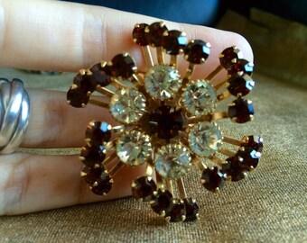 Shinny Bling Vintage Brooch dark brown crystals