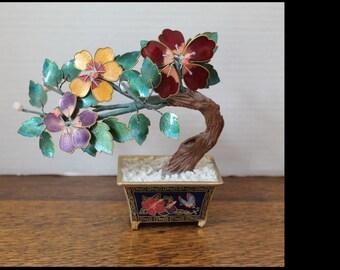 Vintage Cloisonne Bonsai Tree - Hand Painted Metal Bonsai Tree - Vintage Asian Decor - Decorative Bonsai Tree