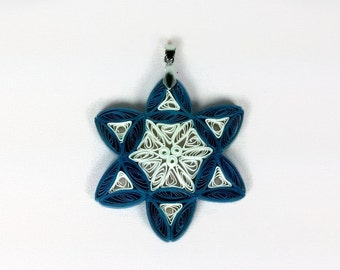 Paper Quilled Star of David Pendant - paper quilling jewelry, Jewish star necklace, Rosh Hashanah necklace, Yom Kippur necklace, kosher gift