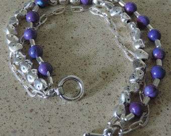 Purple Turquoise Bracelet,  Triple Strand Bracelet,  Purple and Silver Bracelet,