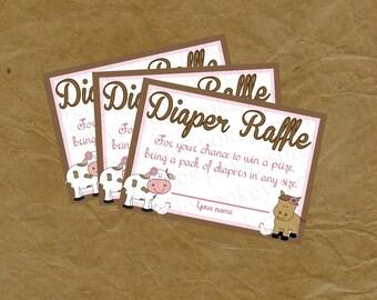 FARM Diaper Raffle INSERT Baby Shower - Instant Download