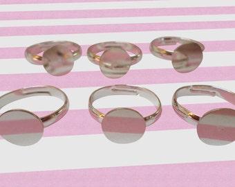 DIY Blank Silver Ring Bases, 19mm, 10pc set