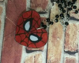 Spiderman Heart Comic Book  Necklace