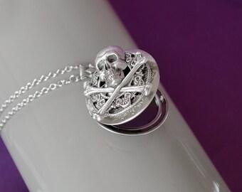 Skull Locket Crossbones Locket Necklace Gothic Locket Gothic Jewelry Vintage Brass Locket Necklace Secret Locket Antique Locket Gift for Her